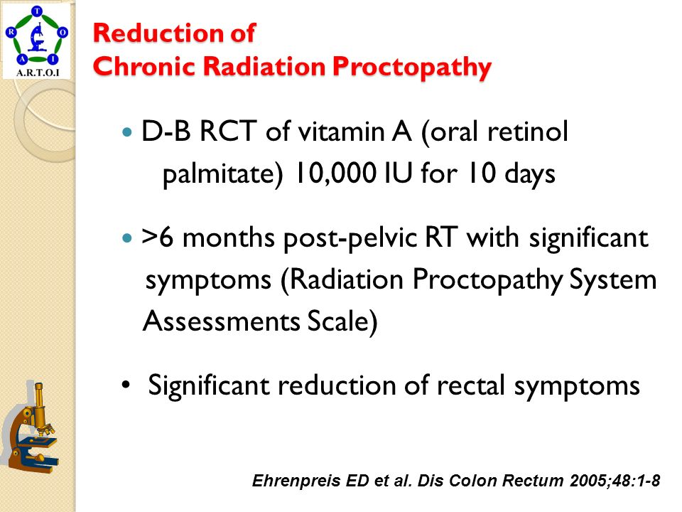 Reduction of Chronic Radiation Proctopathy