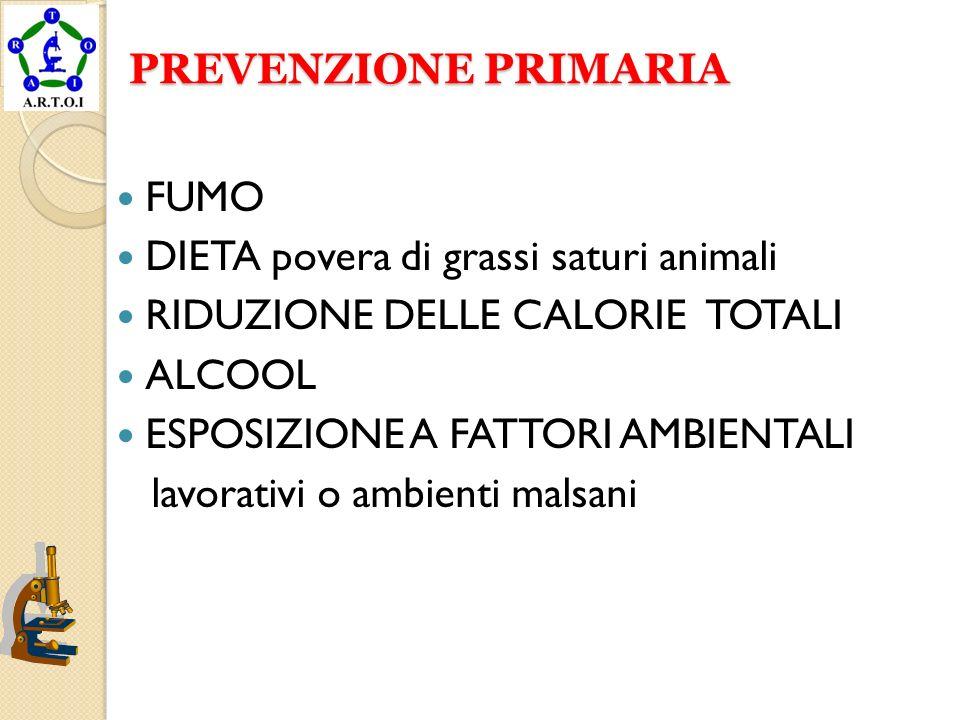 PREVENZIONE PRIMARIAFUMO. DIETA povera di grassi saturi animali. RIDUZIONE DELLE CALORIE TOTALI. ALCOOL.