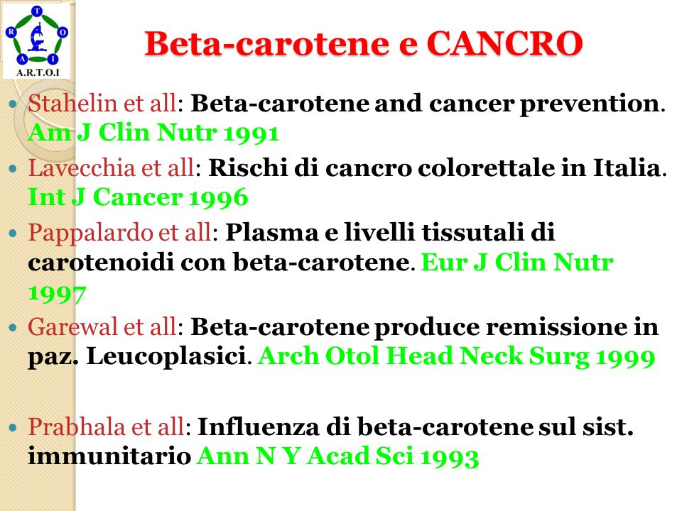 Beta-carotene e CANCRO