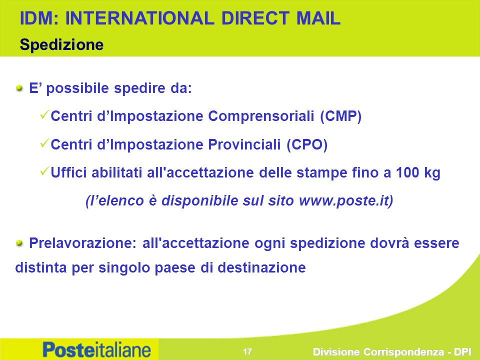 (l'elenco è disponibile sul sito www.poste.it)