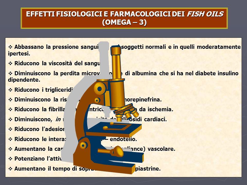 EFFETTI FISIOLOGICI E FARMACOLOGICI DEI FISH OILS (OMEGA – 3)