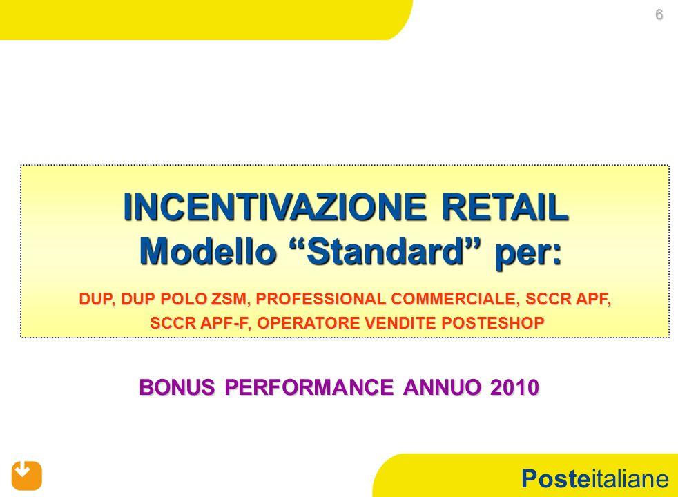 INCENTIVAZIONE RETAIL Modello Standard per: