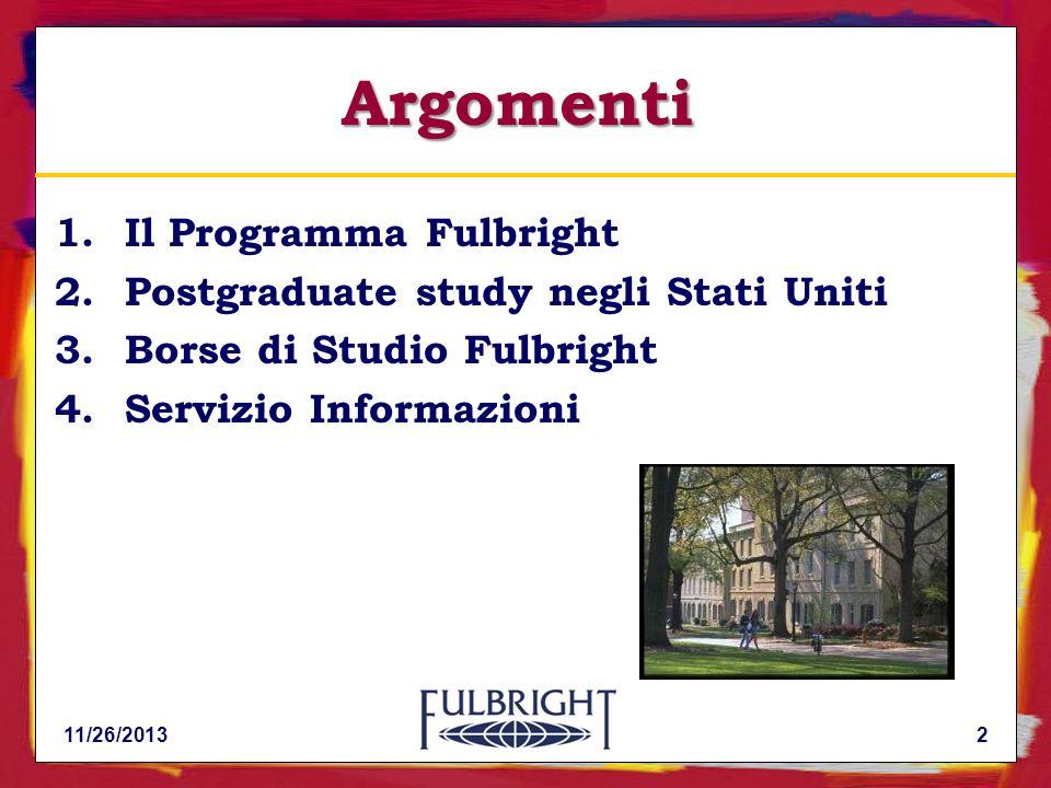 Argomenti Il Programma Fulbright Postgraduate study negli Stati Uniti