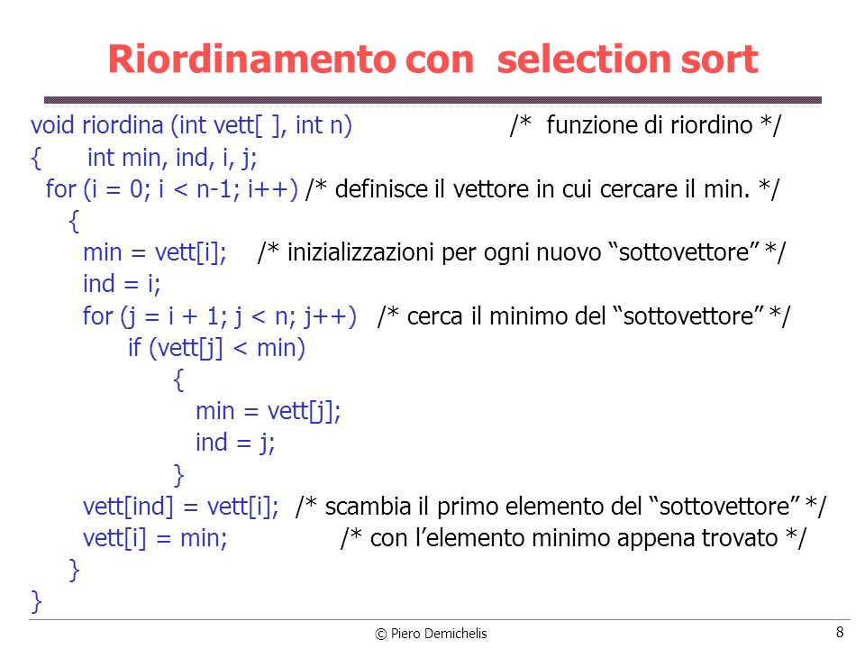 Riordinamento con selection sort