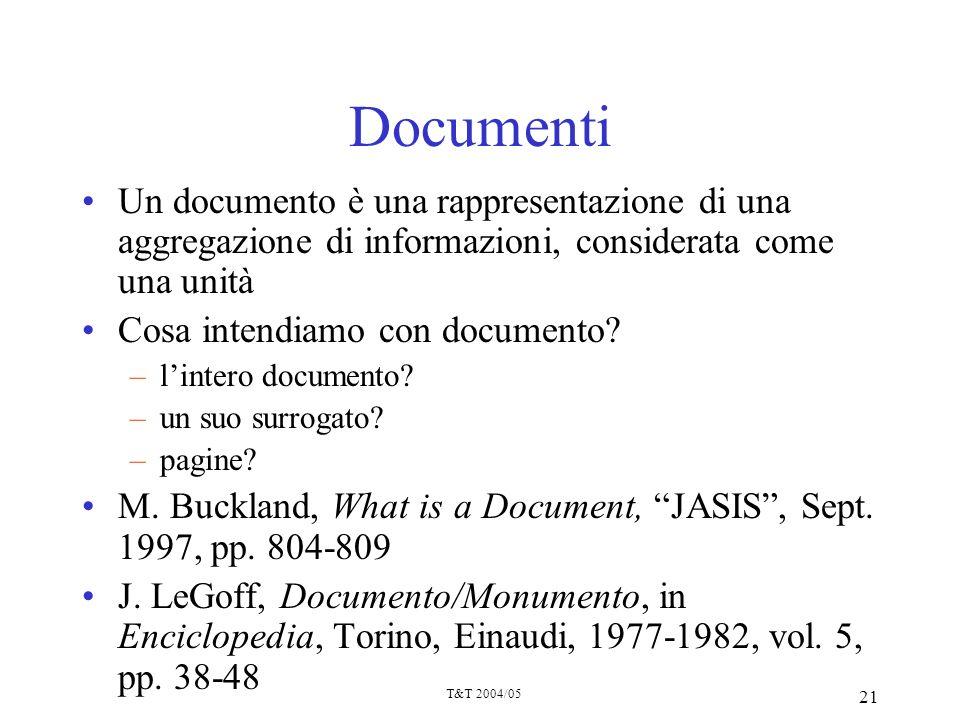 Documenti Un documento è una rappresentazione di una aggregazione di informazioni, considerata come una unità.