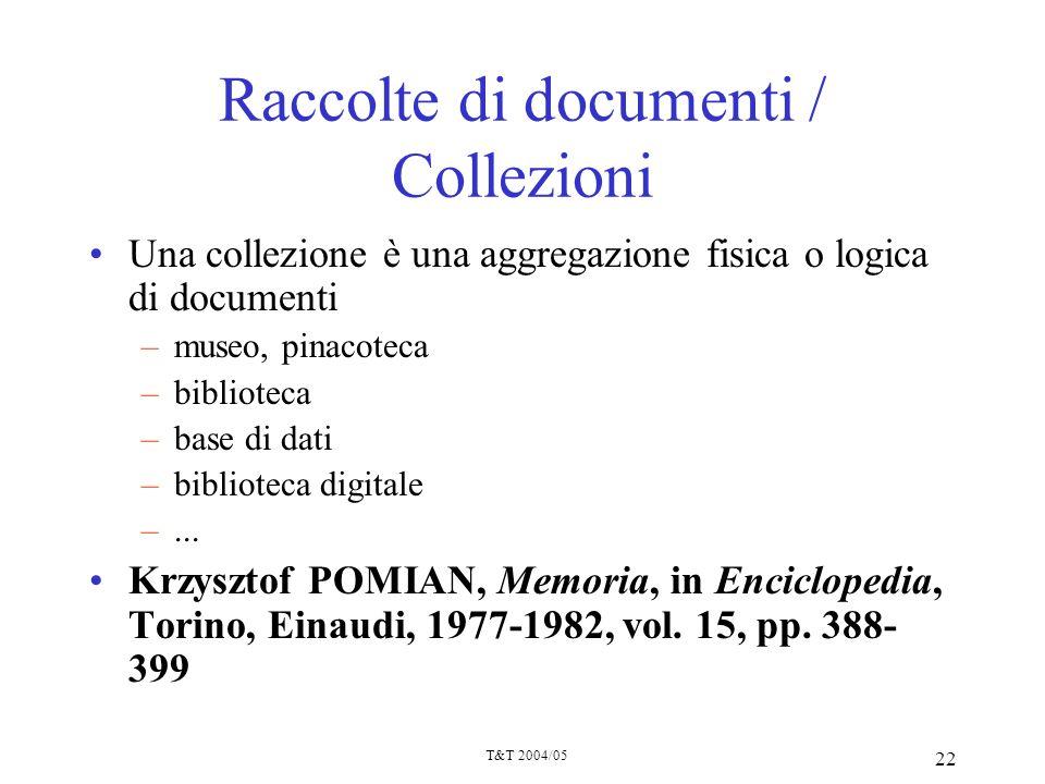 Raccolte di documenti / Collezioni