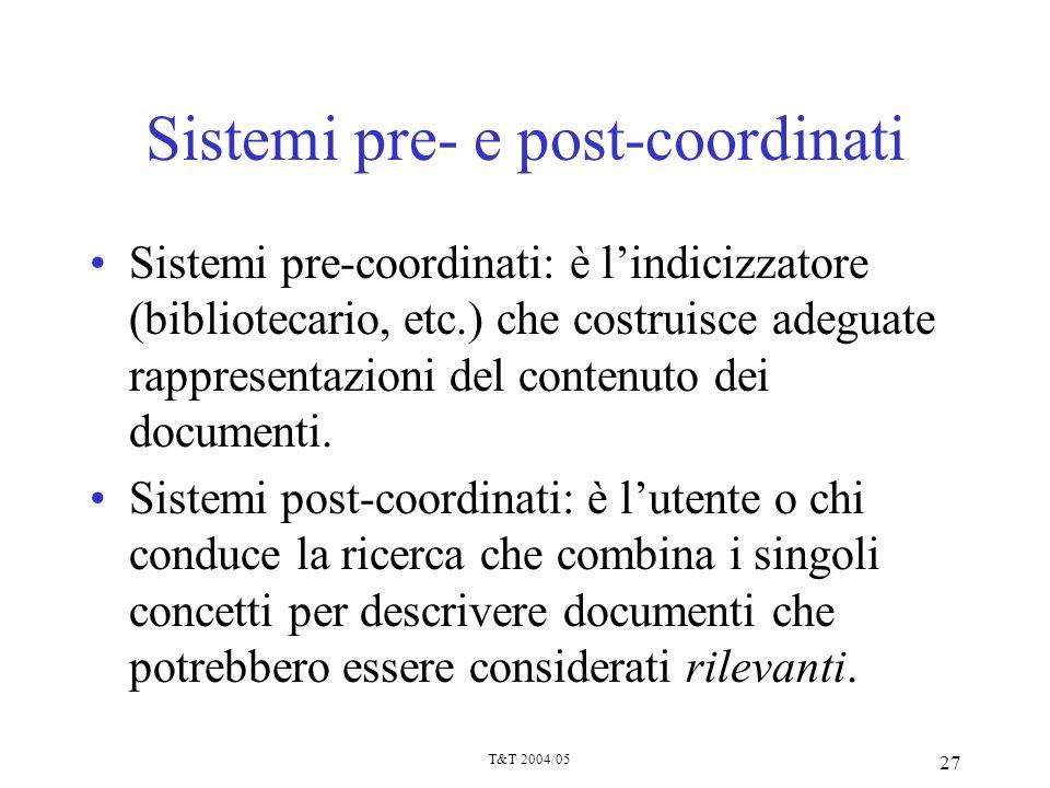 Sistemi pre- e post-coordinati