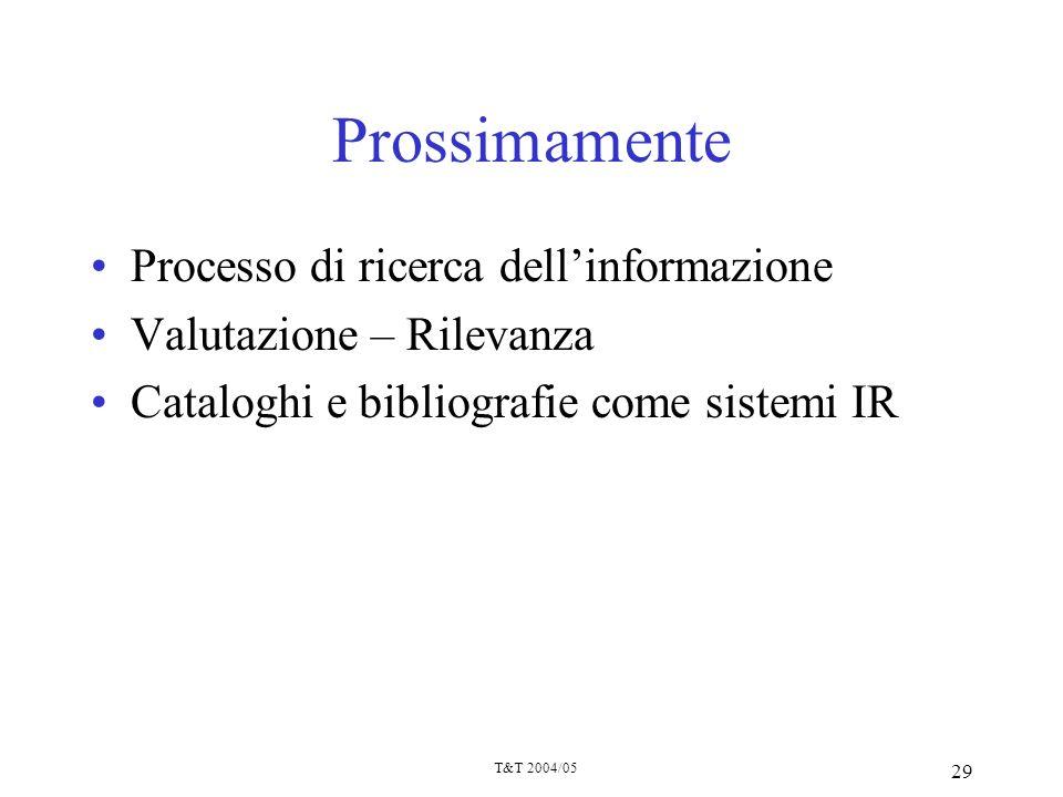 Prossimamente Processo di ricerca dell'informazione