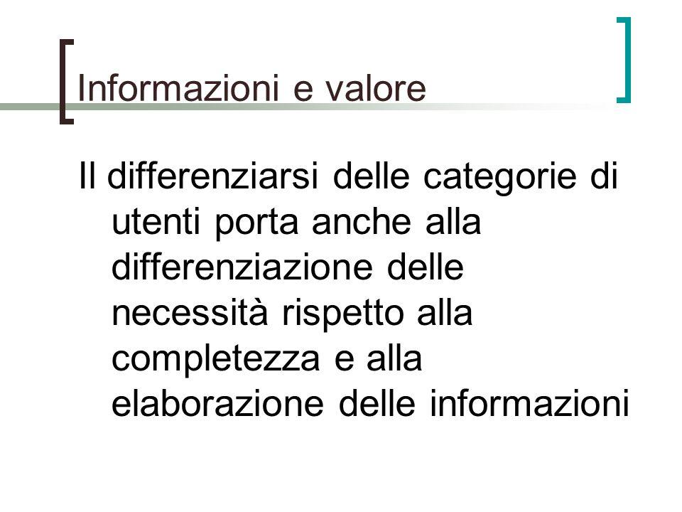 Informazioni e valore