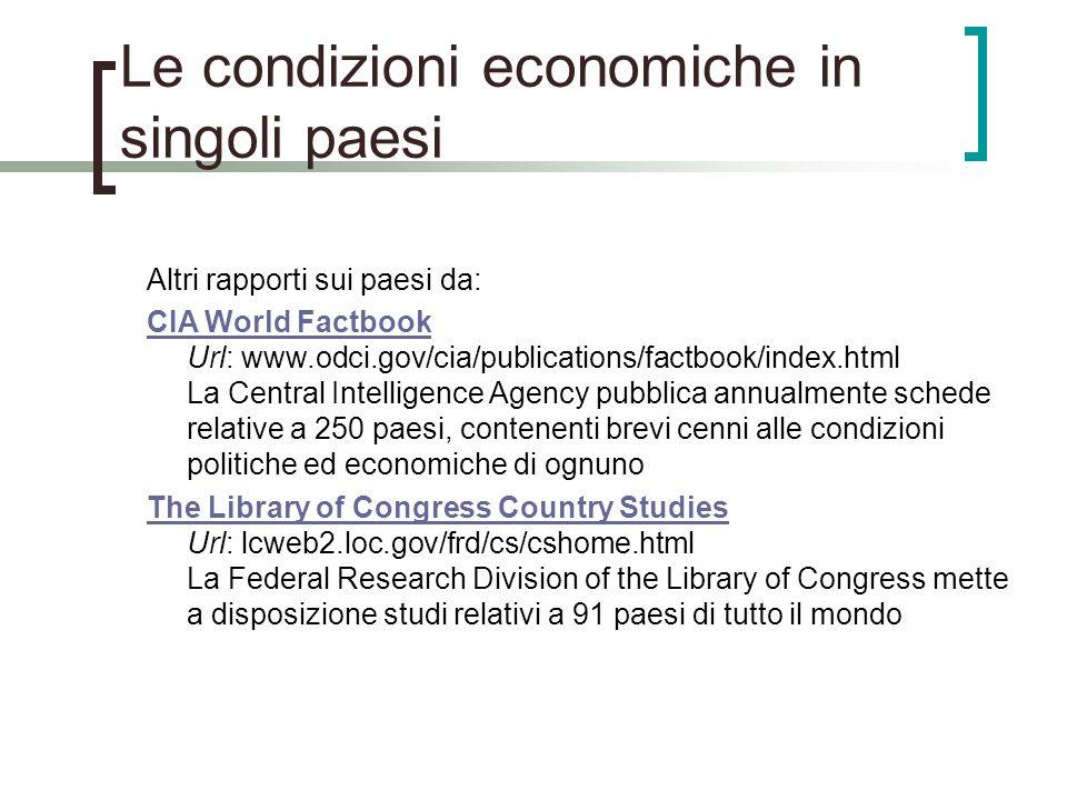 Le condizioni economiche in singoli paesi