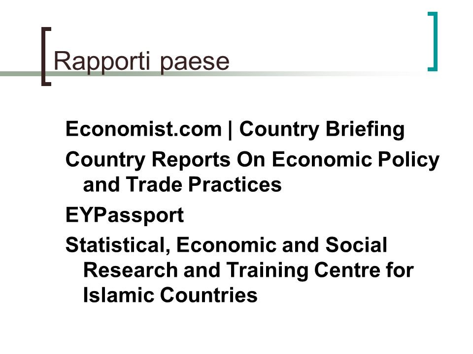 Rapporti paese Economist.com | Country Briefing