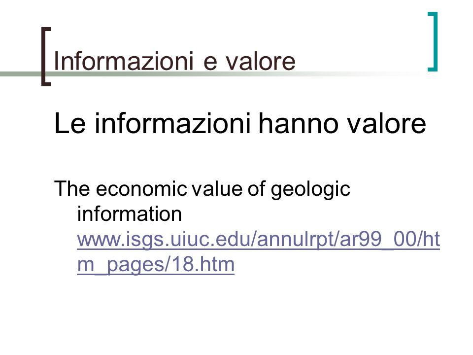 Le informazioni hanno valore