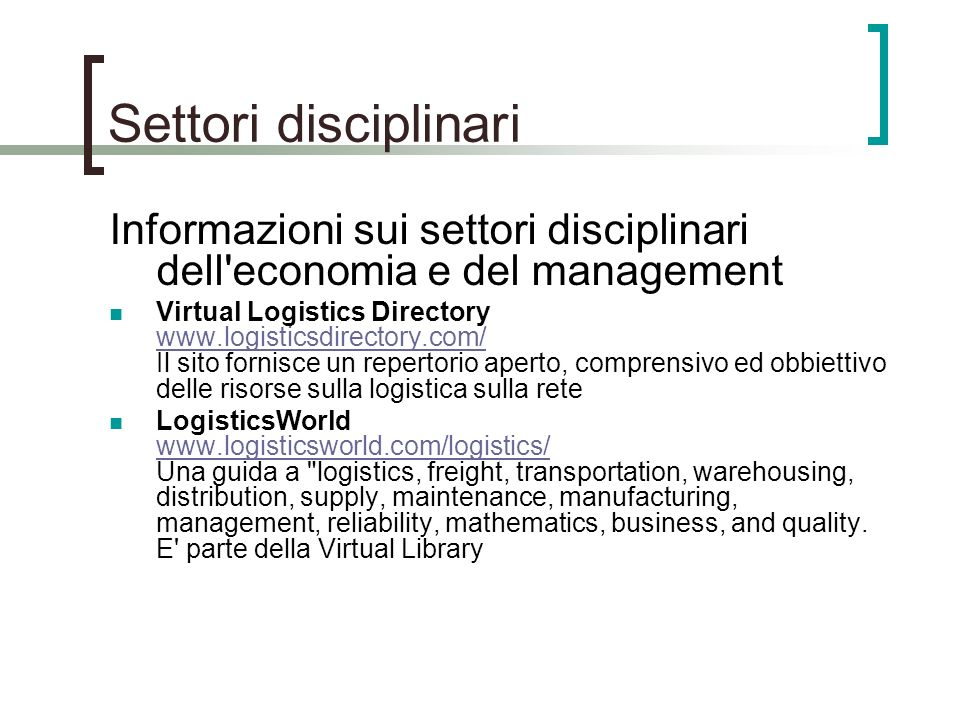 Settori disciplinari Informazioni sui settori disciplinari dell economia e del management.