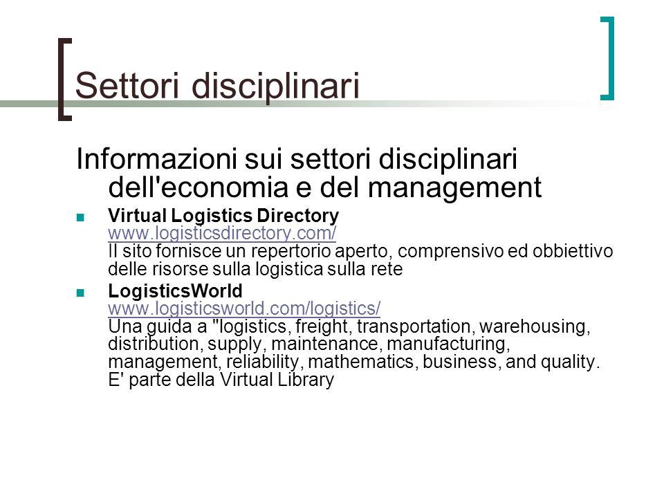 Settori disciplinariInformazioni sui settori disciplinari dell economia e del management.