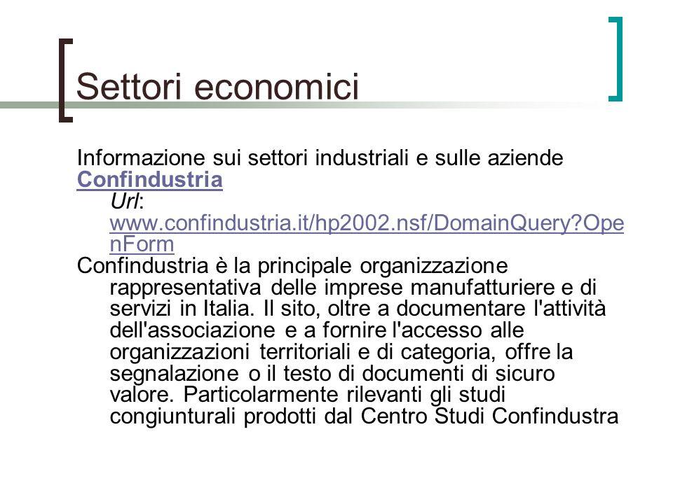 Settori economici Informazione sui settori industriali e sulle aziende