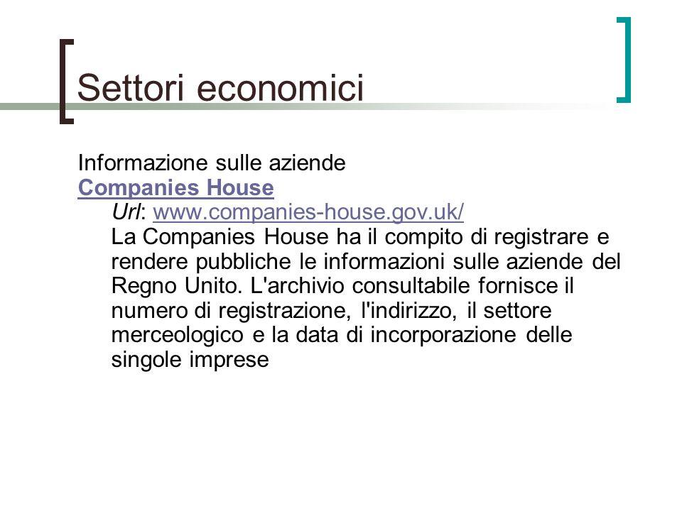 Settori economici Informazione sulle aziende