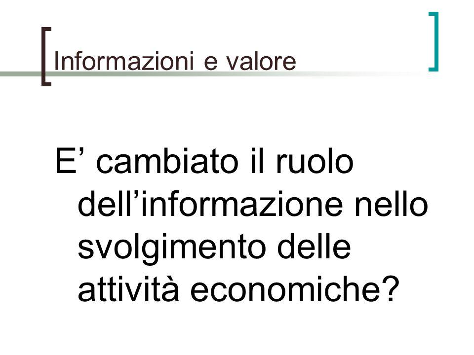 Informazioni e valore E' cambiato il ruolo dell'informazione nello svolgimento delle attività economiche