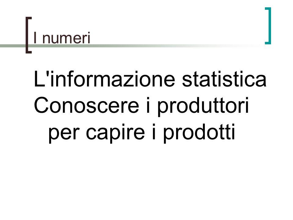 L informazione statistica Conoscere i produttori per capire i prodotti