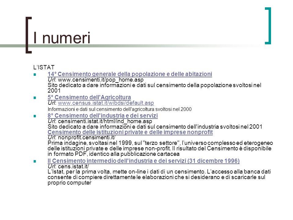 I numeri L'ISTAT.