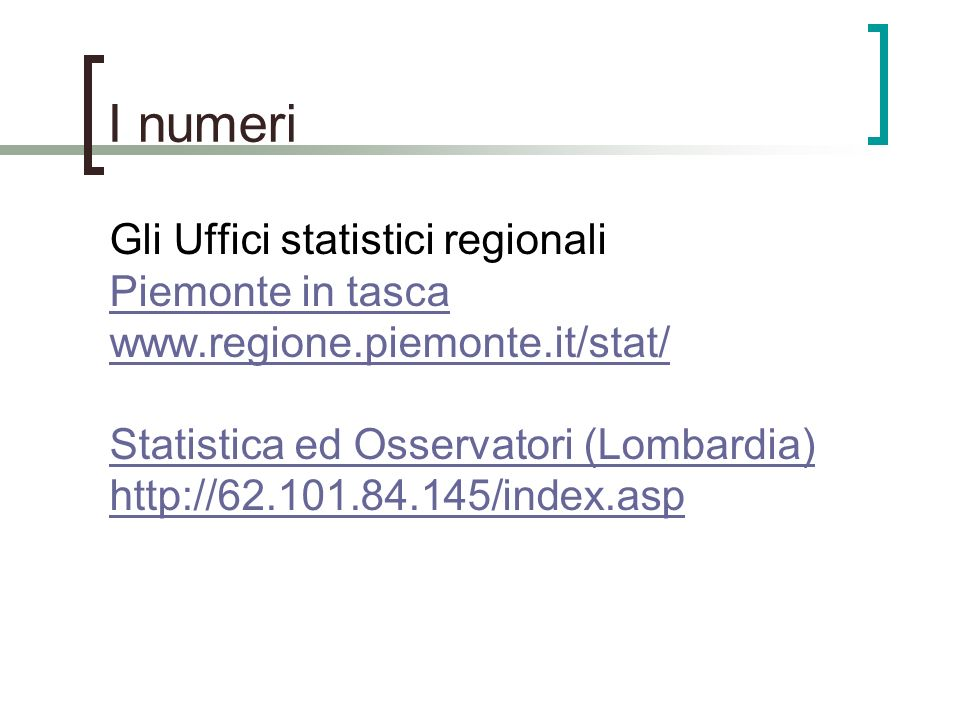I numeri Gli Uffici statistici regionali Piemonte in tasca