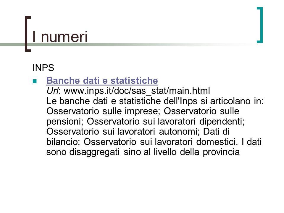 I numeri INPS.