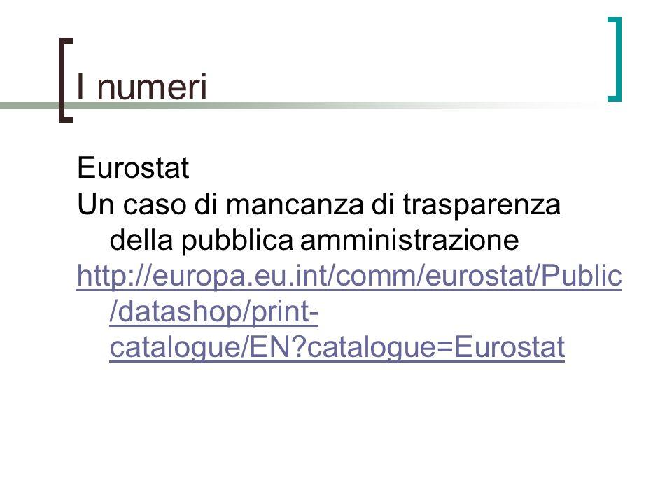I numeri Eurostat. Un caso di mancanza di trasparenza della pubblica amministrazione.