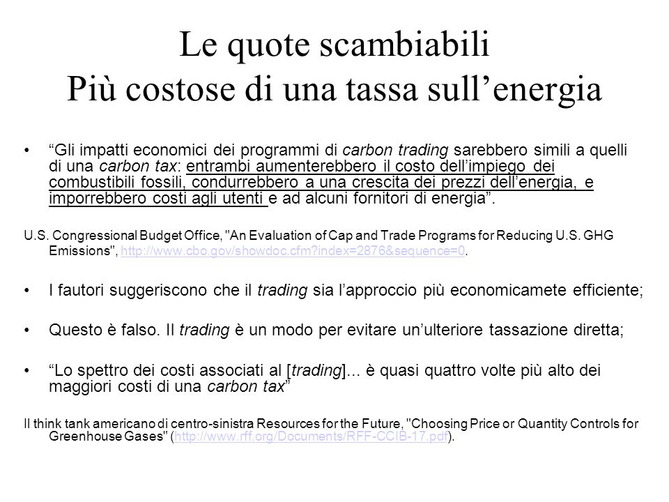 Le quote scambiabili Più costose di una tassa sull'energia