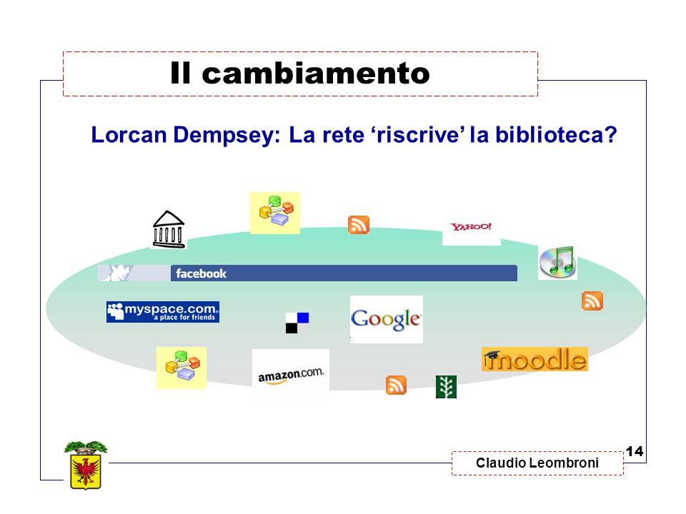 Il cambiamento Lorcan Dempsey: La rete 'riscrive' la biblioteca 14