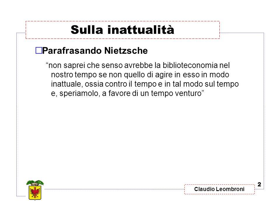 Sulla inattualità Parafrasando Nietzsche
