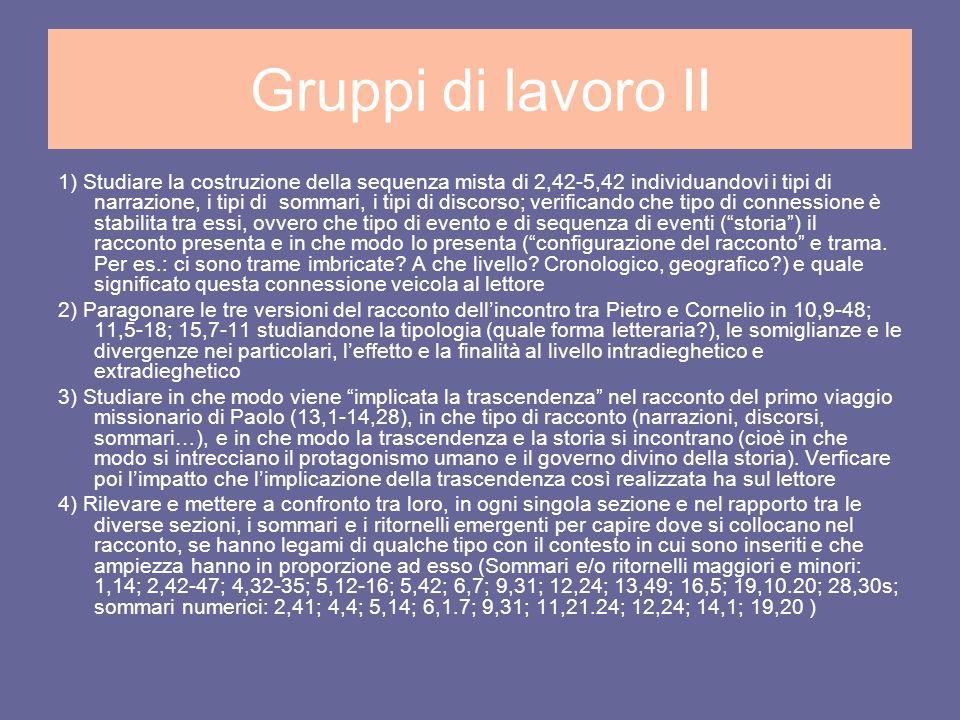Gruppi di lavoro II