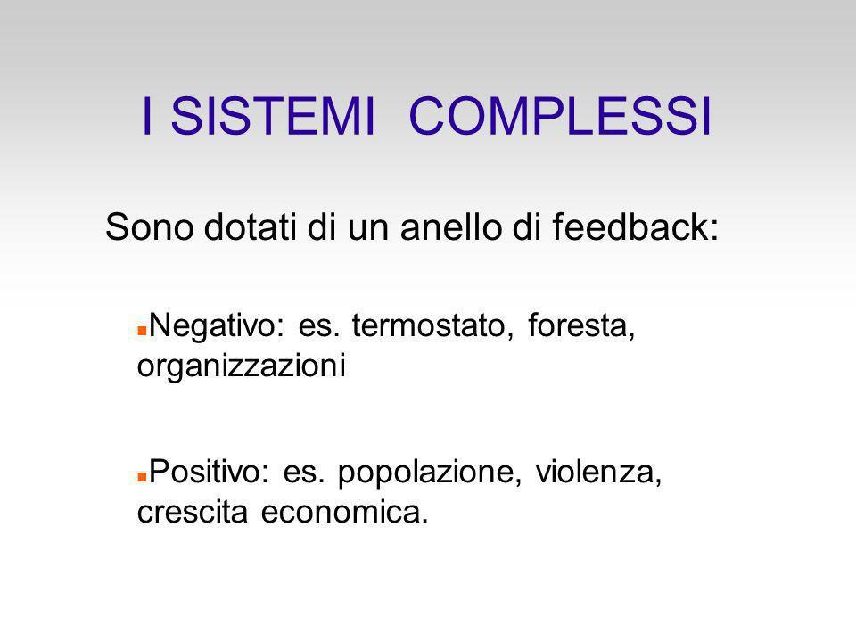 I SISTEMI COMPLESSI Sono dotati di un anello di feedback: