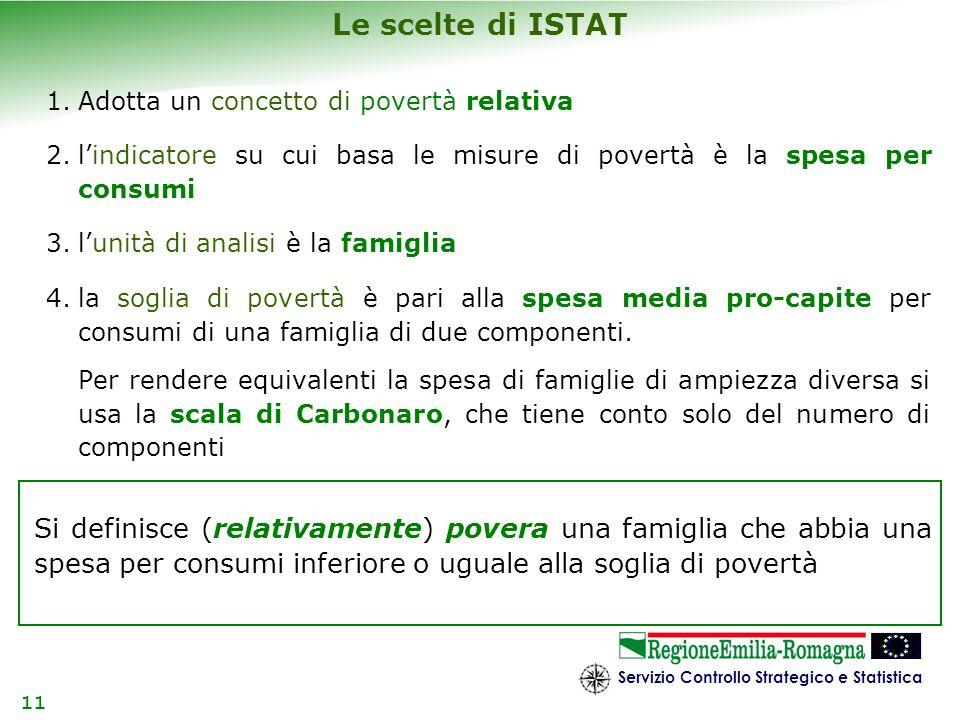 Le scelte di ISTAT Adotta un concetto di povertà relativa. l'indicatore su cui basa le misure di povertà è la spesa per consumi.