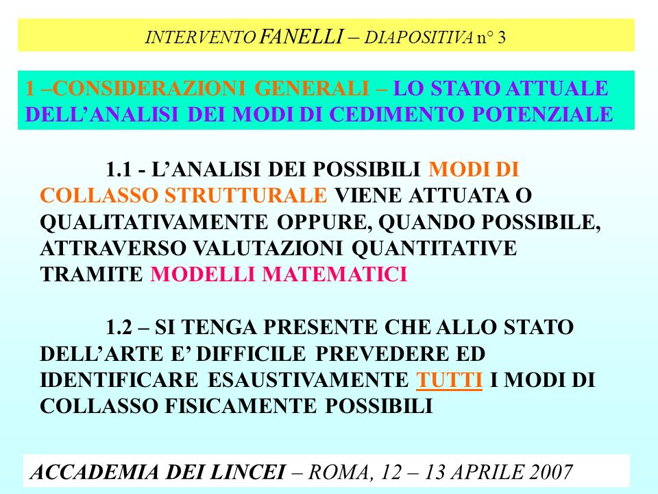 INTERVENTO FANELLI – DIAPOSITIVA n° 3