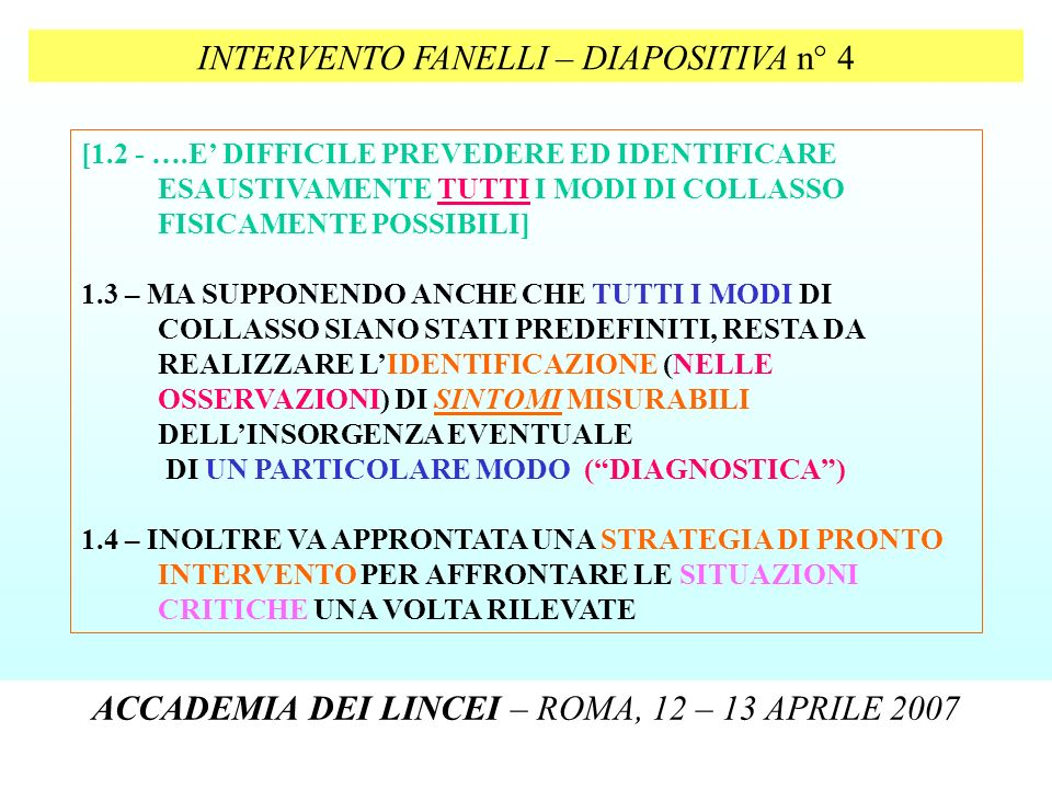 INTERVENTO FANELLI – DIAPOSITIVA n° 4