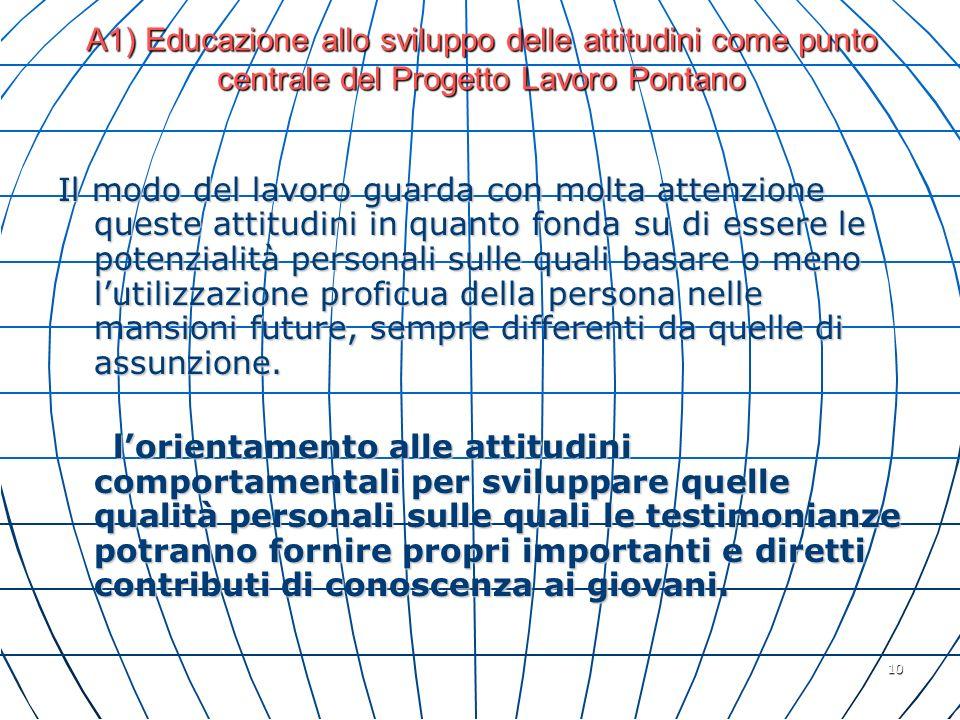 A1) Educazione allo sviluppo delle attitudini come punto centrale del Progetto Lavoro Pontano