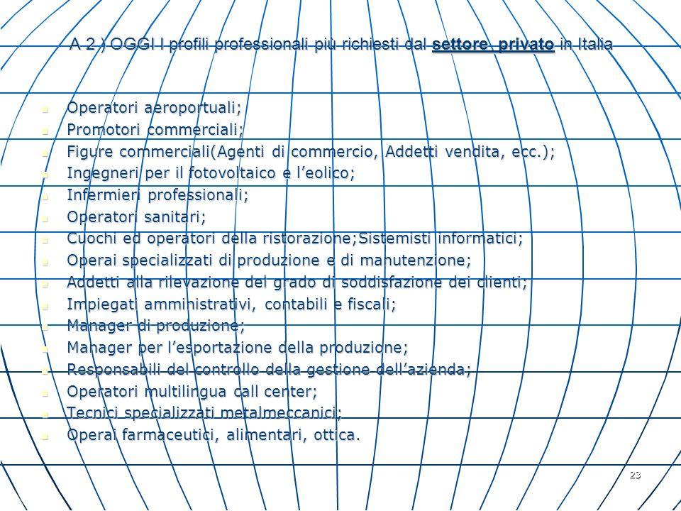 A 2 ) OGGI I profili professionali più richiesti dal settore privato in Italia