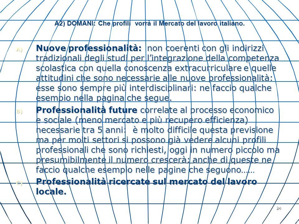 A2) DOMANI: Che profili vorrà il Mercato del lavoro italiano.