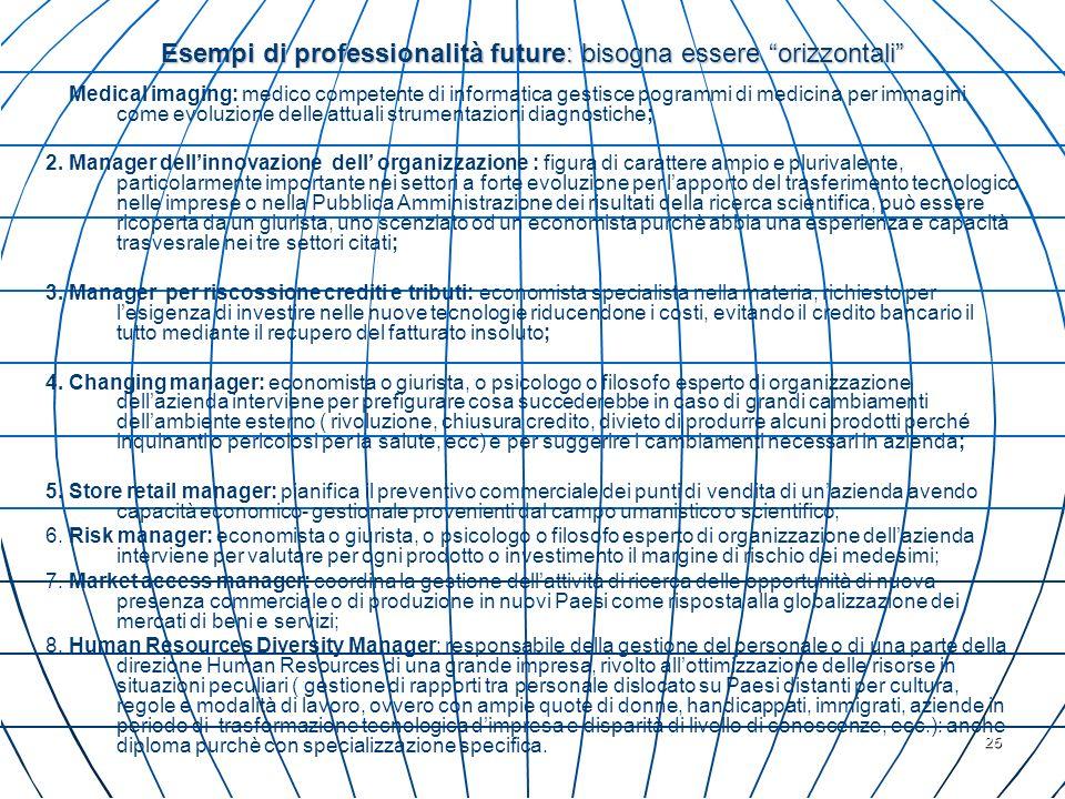 Esempi di professionalità future: bisogna essere orizzontali