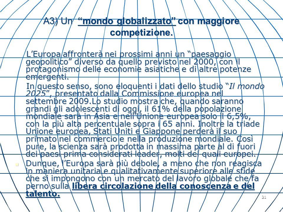 A3) Un mondo globalizzato con maggiore competizione.