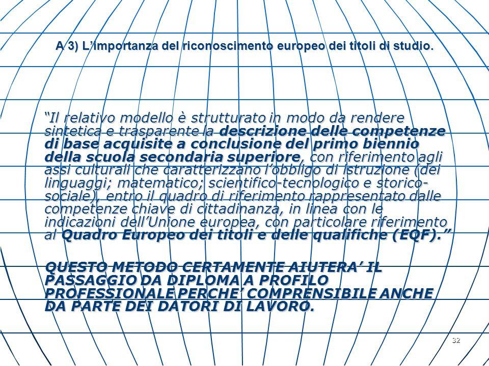 A 3) L'importanza del riconoscimento europeo dei titoli di studio.