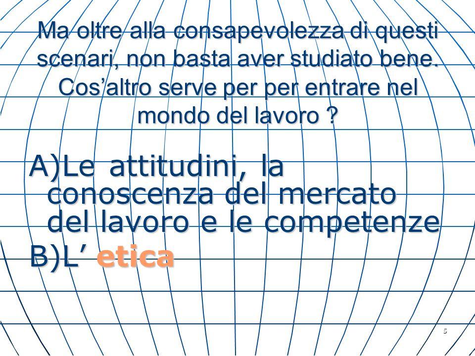 A)Le attitudini, la conoscenza del mercato del lavoro e le competenze