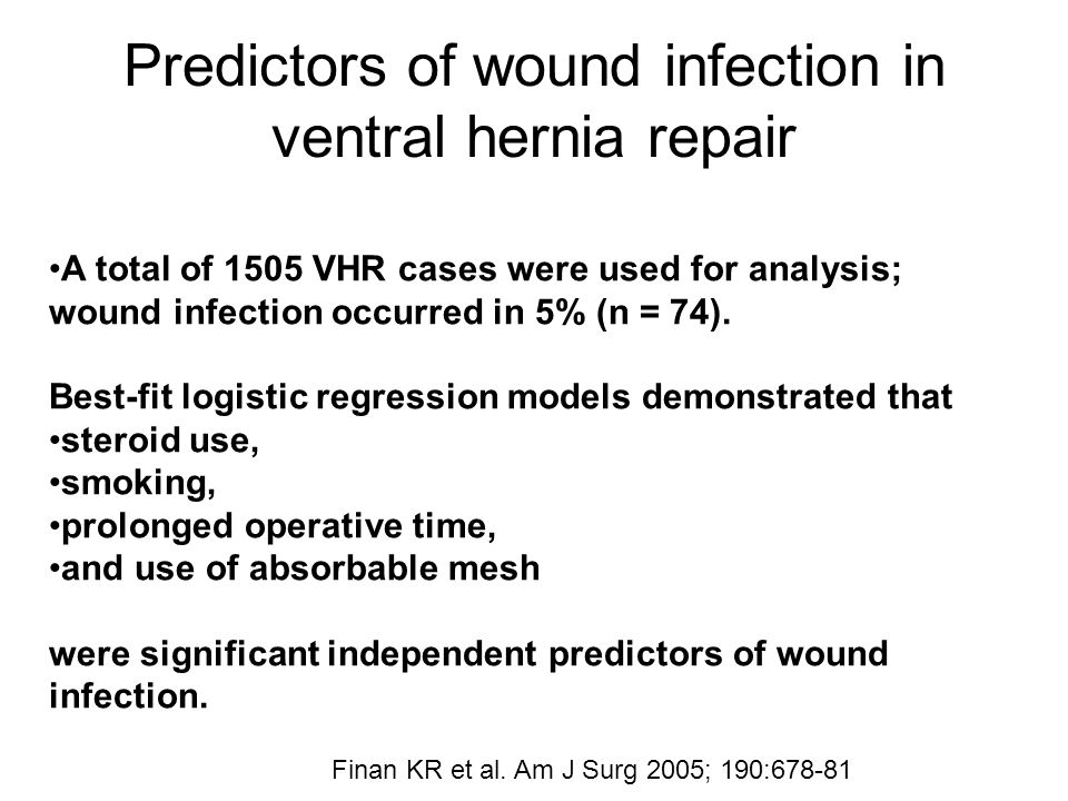 Predictors of wound infection in ventral hernia repair