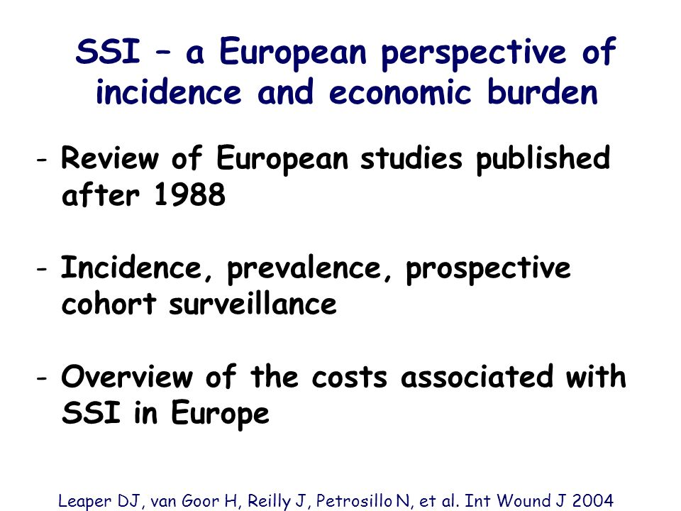 SSI – a European perspective of incidence and economic burden