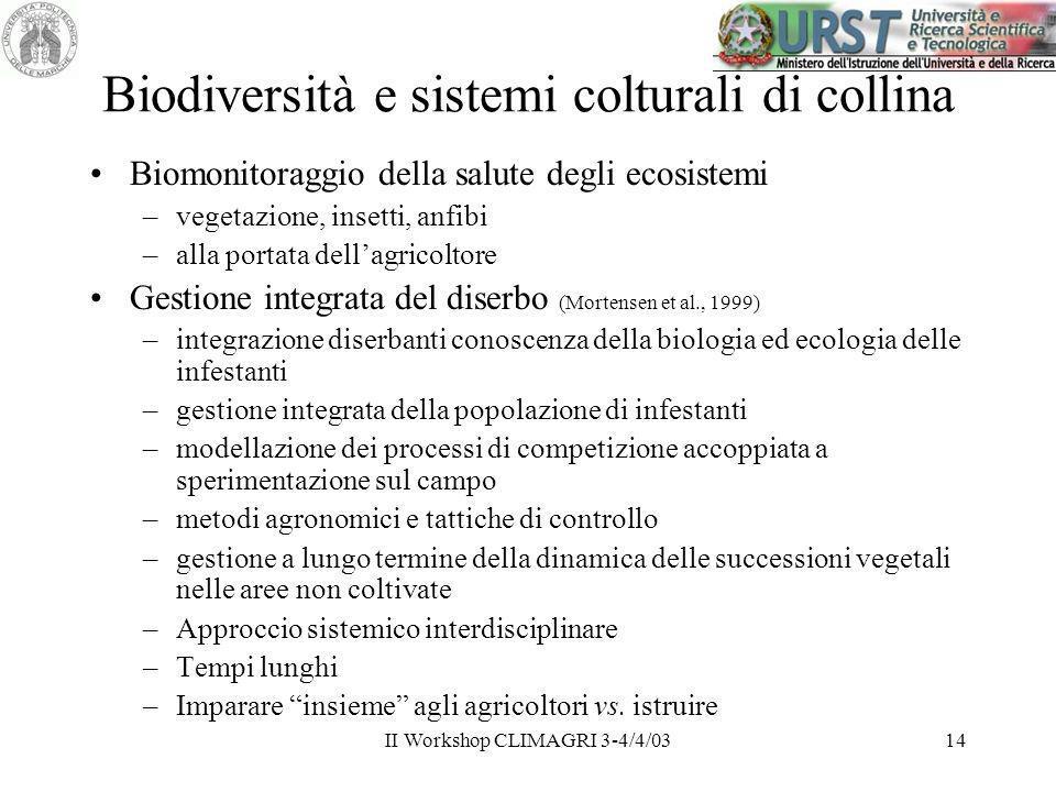 Biodiversità e sistemi colturali di collina