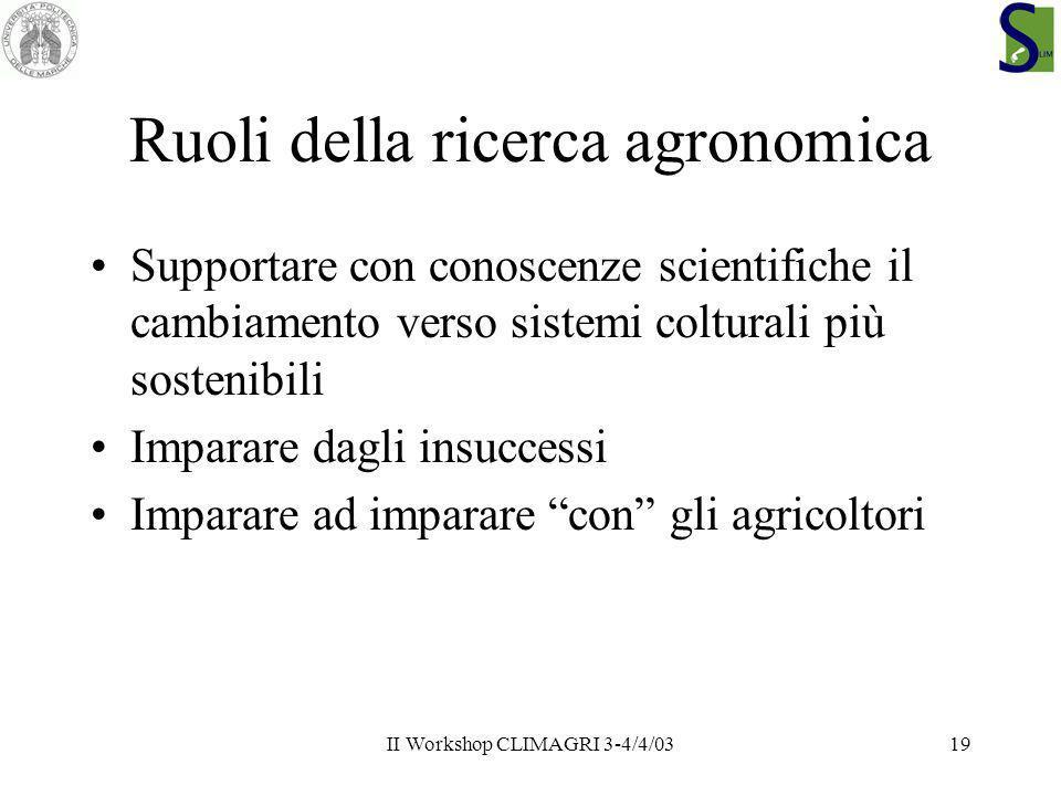 Ruoli della ricerca agronomica