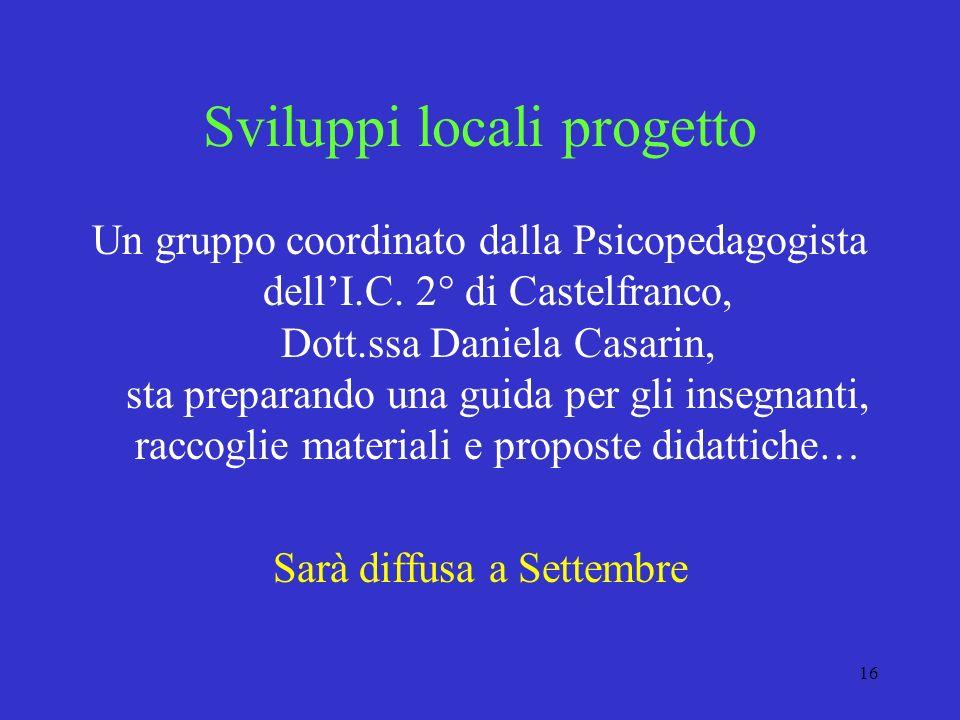 Sviluppi locali progetto