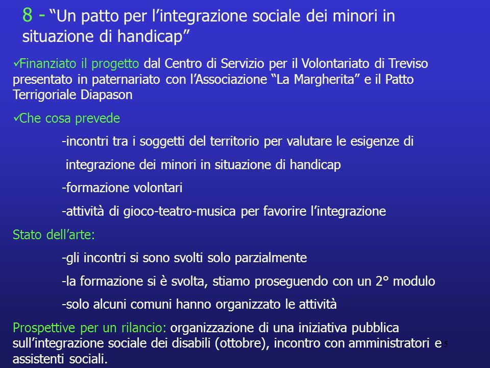 8 - Un patto per l'integrazione sociale dei minori in situazione di handicap