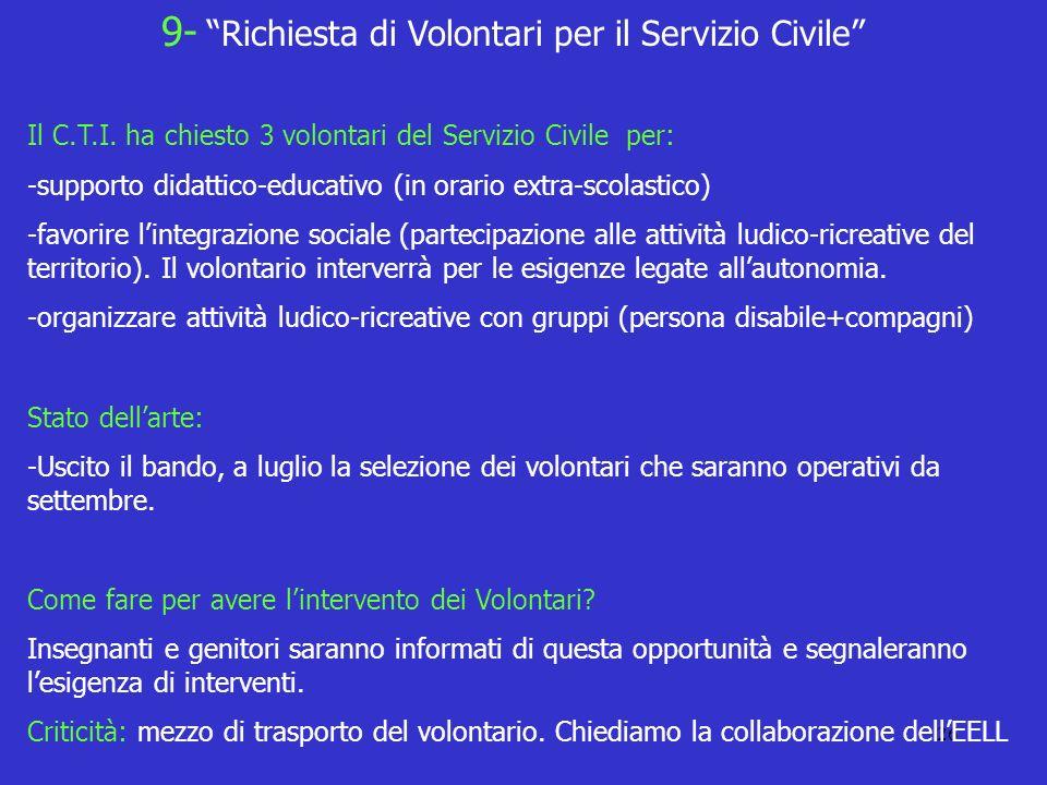 9- Richiesta di Volontari per il Servizio Civile