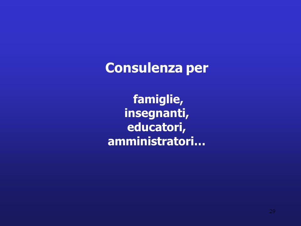 Consulenza per famiglie, insegnanti, educatori, amministratori…