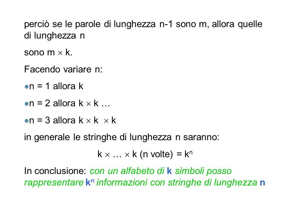 perciò se le parole di lunghezza n-1 sono m, allora quelle di lunghezza n